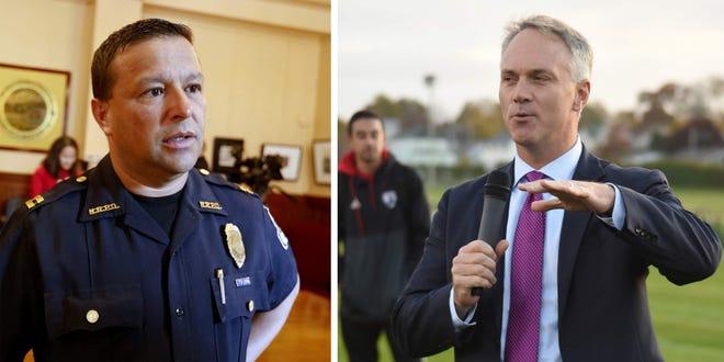 New Bedford Police Chief Joseph Cordeiro, left, and Mayor Jon Mitchell, right.