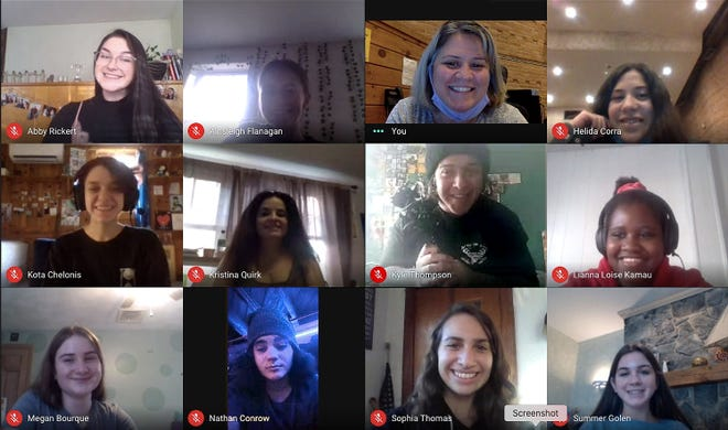 The cast and crew of West Boylston High School Drama's 'Thank You, Six!' meet virtually to rehearse.