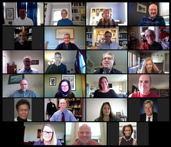 Shown at the virtual Perkins Annual Meeting are (top row, from left) Michael Ames, Mary Ritter, Carol Francolini Mueller and Donald Lowe; (second row, from left) Leslie Harris, James Geraghty, Michael Connolly and Trix Oakley; (third row, from left) James Leary, Philip Muscatello, Chuck Hughes and Emma Carpenter; (fourth row, from left) Peter Stanton, Suzanne Frisch, Jennifer Luisa and Stephen Peck; (fifth row, from left) Linda Williams, Leslie Shelton, Jennifer Flanagan and Stanley Starr; and (bottom row, from left) Dana Hollinshead, John Boyle and Penny Outlaw.