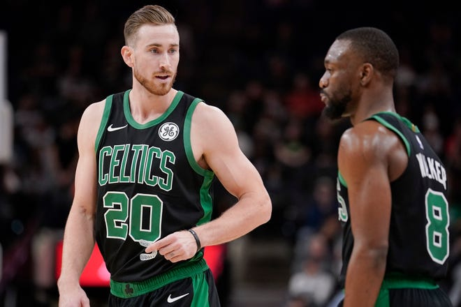President of basketball operations Danny Ainge offered updates on why Gordon Hayward, left, may have left and the health of star Kemba Walker, right, on Tuesday.