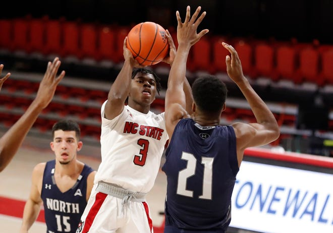 N.C. State guard Cam Hayes (3) and the rest of the Wolfpack will face Umass Lowell on Thursday in Connecticut.