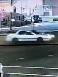 Fayetteville police are requesting the public's help with locating this white vehicle believed to be involved in a road-rage incident. [Fayetteville Police Department photo]