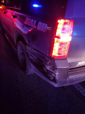 This Marshall County deputy's vehicle sustained damage when a DUI driver struck the vehicle at the scene of a Boaz traffic stop.
