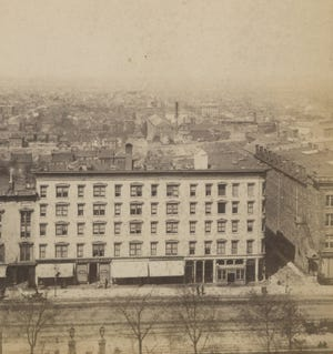 The second Neil House hotel was across High Street from the Ohio Statehouse in downtown Columbus. Its proximity to the state's capitol ensured it was frequented by politicians, but the Neil House also was host to other such notable visitors as Charles Dickens and Jenny Lind. The first Neil House, built by Columbus resident William Neil, stood at the site for 20 years before being destroyed by fire Nov. 6, 1860. Despite sustaining heavy financial losses, Neil was determined to rebuild, completing this second hotel nearly two years later in September 1862. In 1925 it was replaced by a third version, which had 13 floors and was closed in 1980 to allow for construction of the Huntington Center.