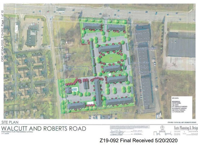 This site plan shows Preferred Living's planned eight apartment buildings on the east side of Walcutt Road, south of Roberts Road, in Columbus. The site is near Hilliard's southern boundaries.