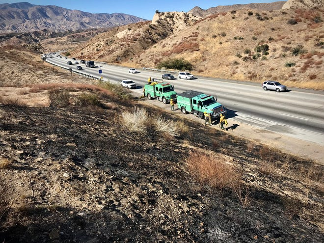 Local firefighters had their hands full Sunday extinguishing five small fires in the Cajon Pass, and another near Big Bear caused by an abandoned campfire.