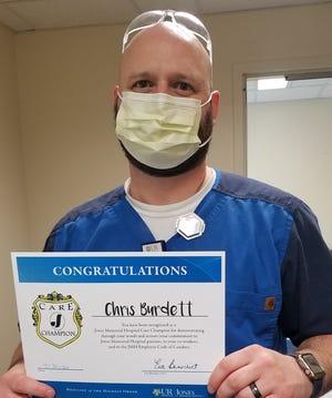 Chris Burdett, Medical Imaging Tech at Jones Memorial Hospital, has been selected as a 2020 Care Champion.
