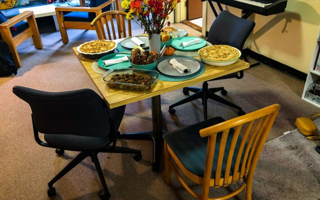 A table is set for a Thanksgiving celebration in a south campus apartment at Boston University on Nov. 26, 2020, as the university encouraged students to limit travel back home for the holiday due to the on-going COVID-19 pandemic.