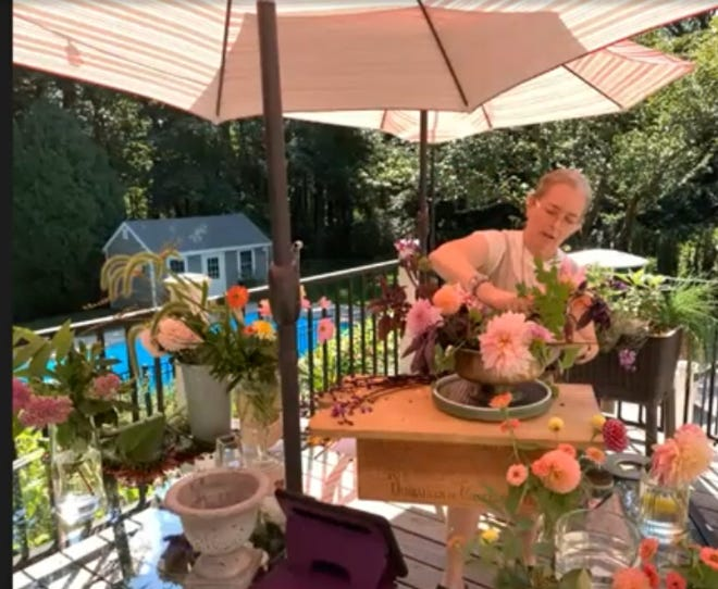 "Debbie Kraft will present ""Covid Flower Arranging."""
