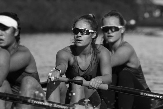 Jessica McGrady, center, competing in the Head of the Charles in 2019, where her boat placed eighth out of 85 competing from across the country.