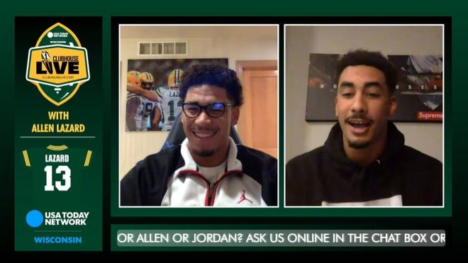 Packers wide receiver Allen Lazard (left) co-hosted Monday's Clubhouse Live. Lazard's guest was Packers rookie quarterback Jordan Love.