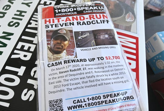 This is a Crime Stoppers flyer seeking information on the hit and run death of Steven Radcliff.