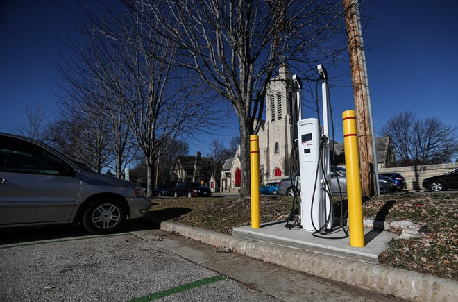 A two vehicle electric car charging station is located in the public parking lot on Division Street in Fond du Lac.