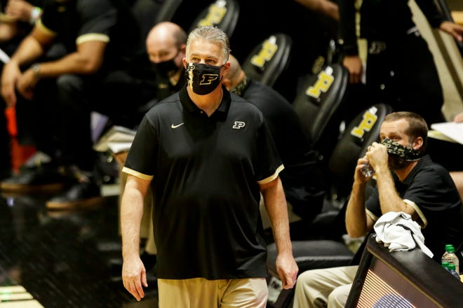 Purdue head coach Matt Painter walks the sideline during the first half of an NCAA men's basketball game, Tuesday, Dec. 1, 2020 at Mackey Arena in West Lafayette.