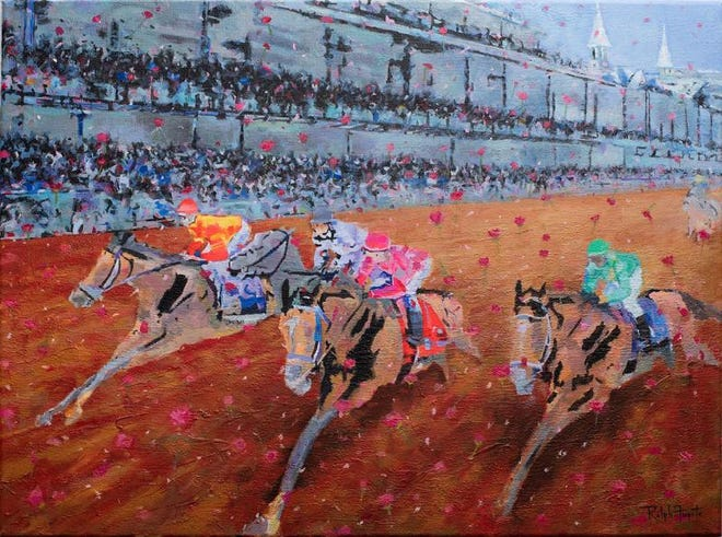 """The 2021 """"Official Art of the Kentucky Derby"""" is a painting by Eastern Kentucky artist Ralph Fugate."""