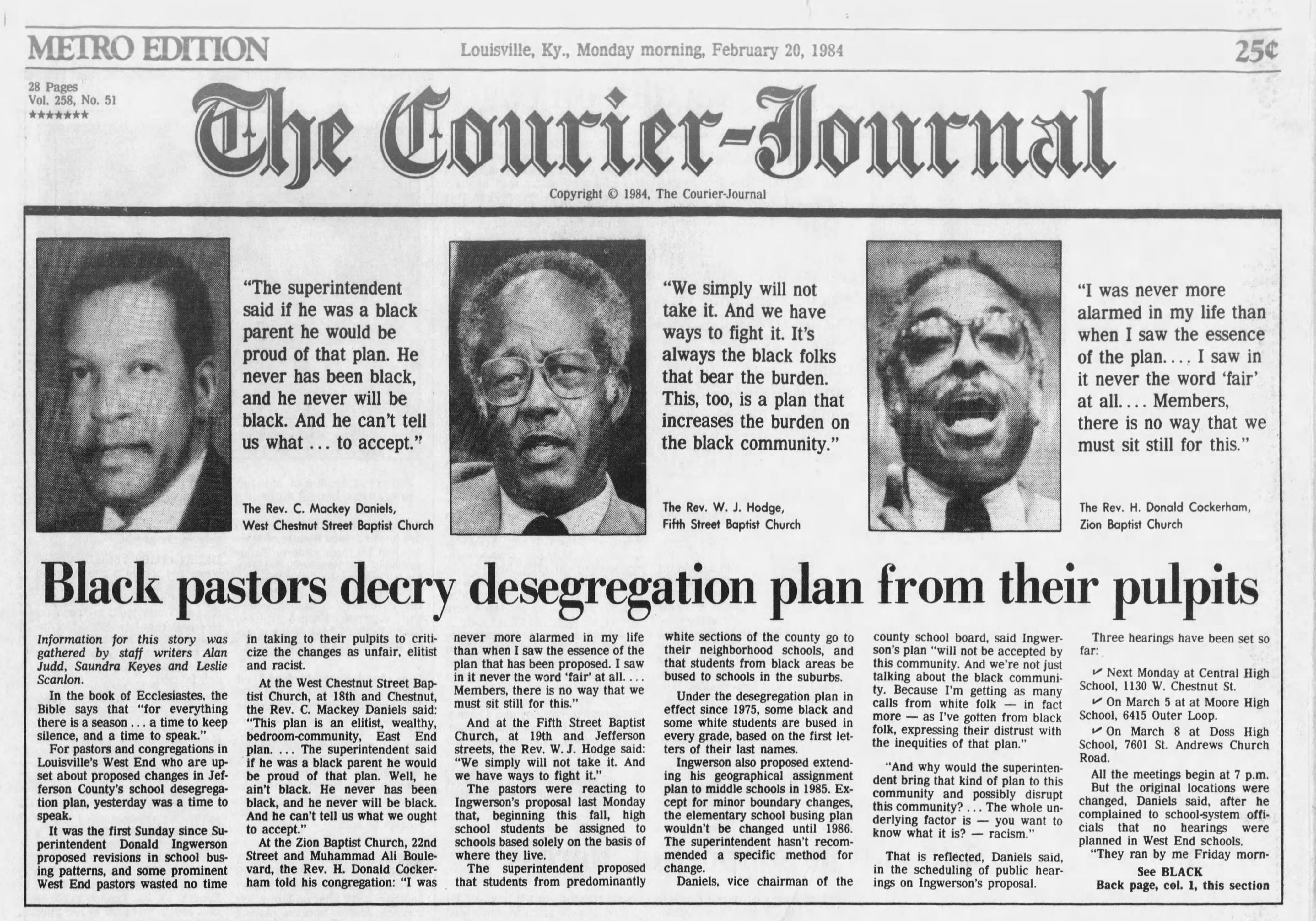 The front page of The Courier Journal on Feb. 20, 1984.