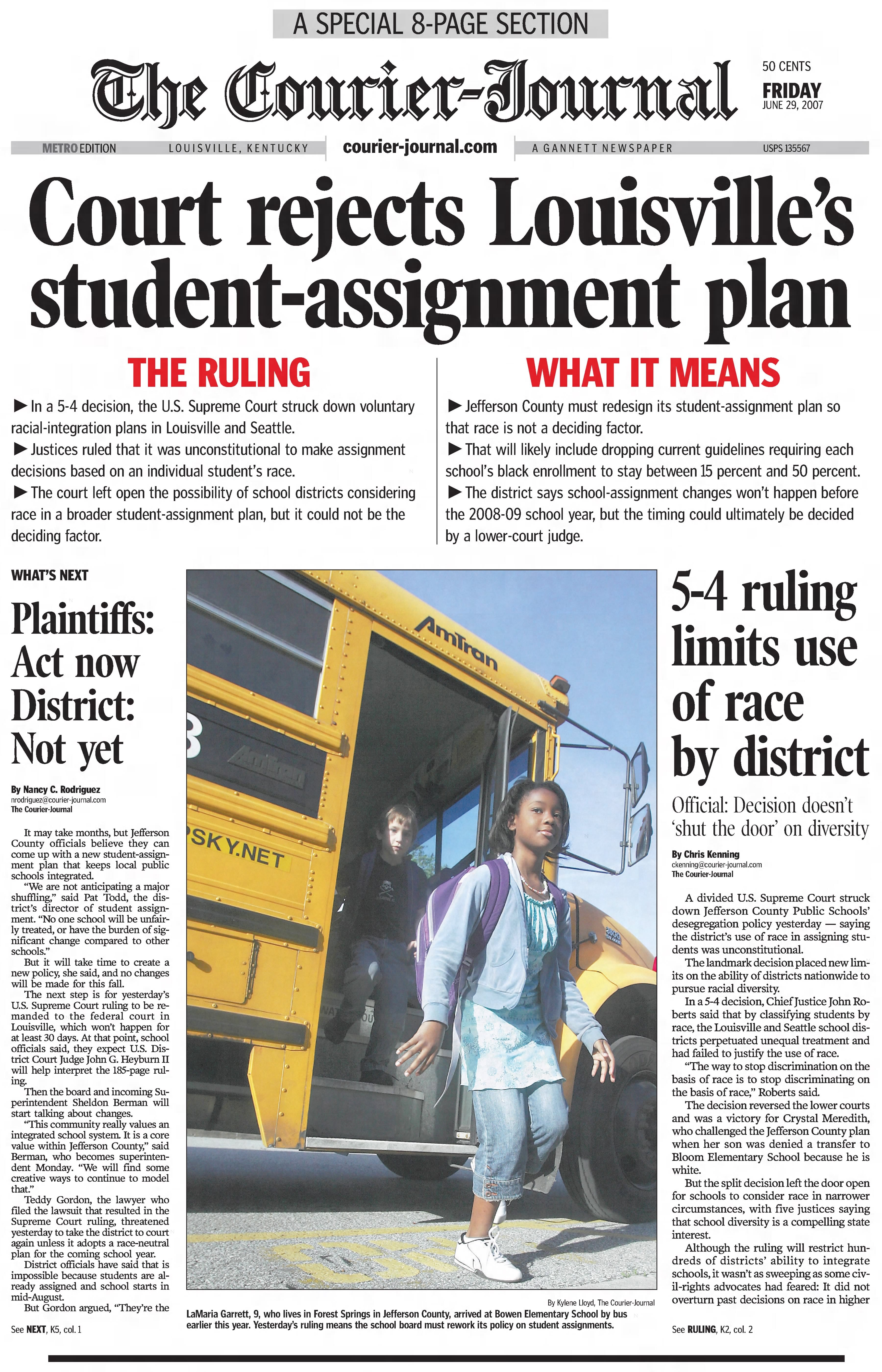 The front page of a June 29, 2007, Courier Journal special section covering the impact of the U.S. Supreme Court decision that struck down Jefferson County's school integration plan.