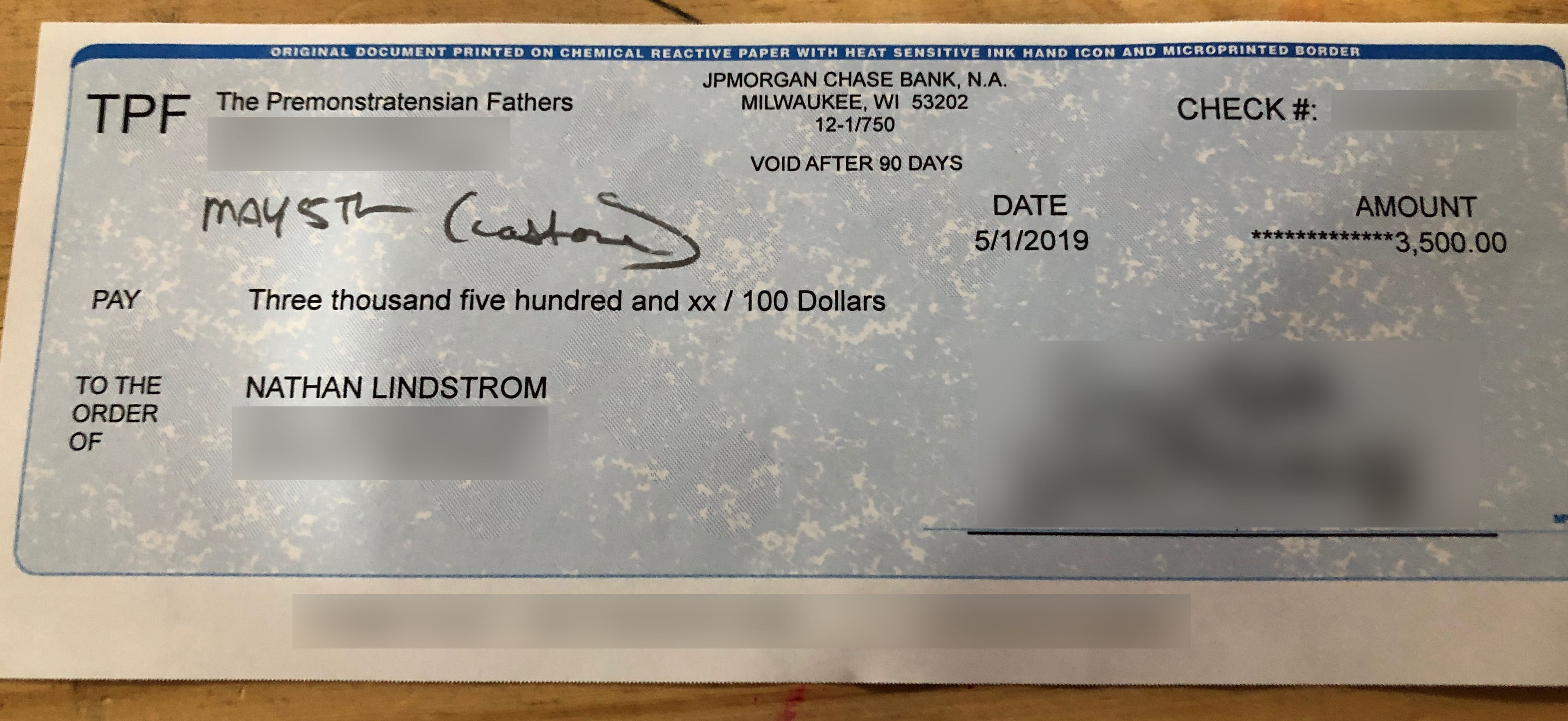 A check for $3,500 made out to Nate Lindstrom from the Norbertines of St. Norbert Abbey in De Pere.