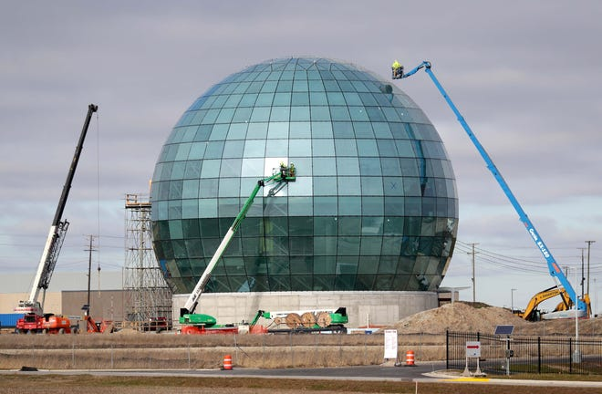 Work continues on the High-Performance Computing Data Center (HPCDC) Globe Tuesday, Dec. 1, 2020, in Mount Pleasant. Coming in at 100 feet tall, the globe will house Foxconn's Network Operations Center.