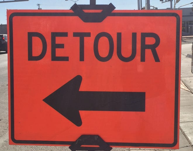 A detour sign greets travelers on United States Highway 285 in Artesia on Dec. 1, 2020. More road construction is scheduled to take place in Eddy County early next year.