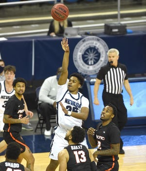 Nevada's Grant Sherfield shoots against Pacific during the second half of Monday's home opener at Lawlor Events Center. Nevada won 70-58.
