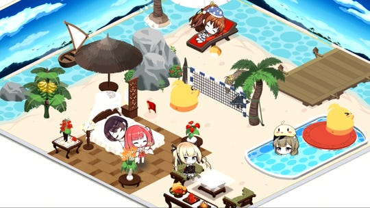 The new Dorm theme in the Vacation Lane collaboration event with Dead or Alive Xtreme Venus Vacation for the Azur Lane mobile game.