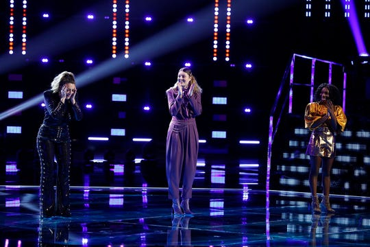 "Pictured: (l-r) Taryn Papa, Julia Cooper, Larriah Jackson on ""The Voice."""