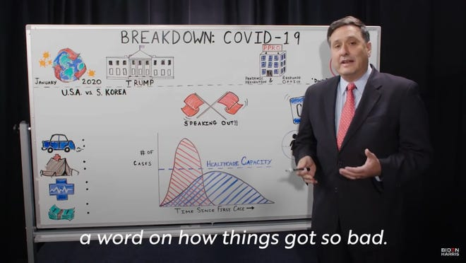 Ron Klain talks about the coronavirus pandemic in a 2020 campaign video for Joe Biden.