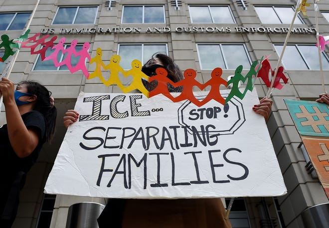 Protest at the Immigration and Customs Enforcement headquarters on July 17, 2020.