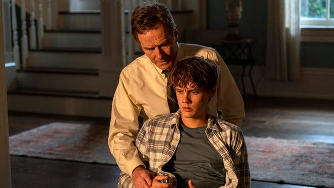 "Bryan Cranston as Michael Desiato and Hunter Doohan as his son, Adam, in Showtime's thriller limited series ""Your Honor."""