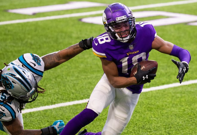 Minnesota wide receiver Justin Jefferson leads all NFL rookies with 918 yards and leads the NFL with 17 receptions of 20 or more yards.