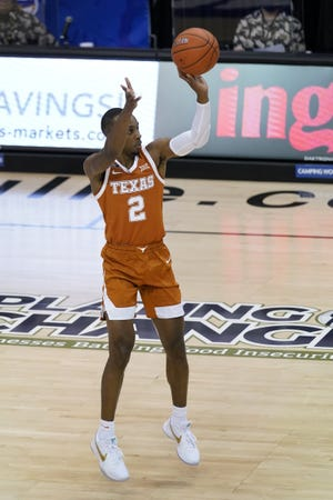 Texas guard Matt Coleman III drains a jumper during the Longhorns' game versus Indiana in the Maui Invitational tournament Tuesday. The Longhorns welcome Villanova Sunday to the Erwin Center.