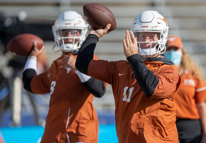 Texas quarterback Casey Thompson, left, spent three years learning from and backing up Sam Ehlinger, right, but gets his first career start this week against Rice. It could be the perfect time for Texas to shuffle the deck; the Longhorns are 26-point favorites.