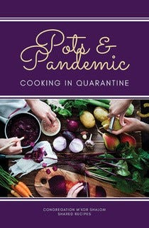 Pots and Pandemic cookbook cover was designed by Meredith Caraher. The cookbook is collection of 200 recipes from congregants of Congregation M'kor Shalom.