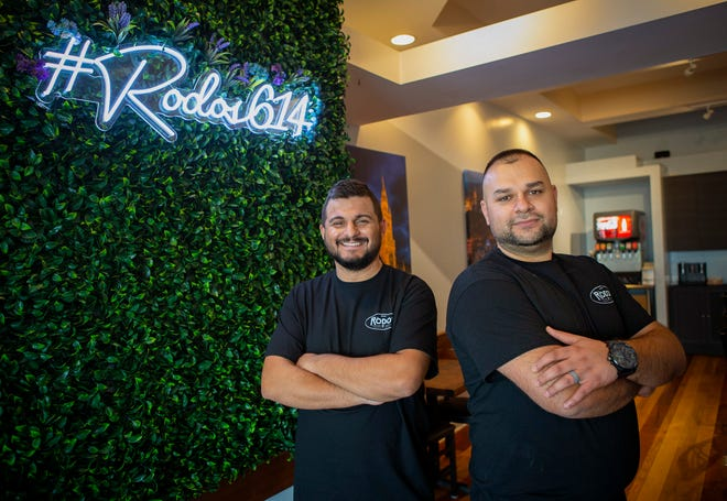 Co-owners and cousins Klaudio Pali, left, and Erion Permeti are opening Rodos European Grill at 3369 Indianola Ave. in Clintonville.