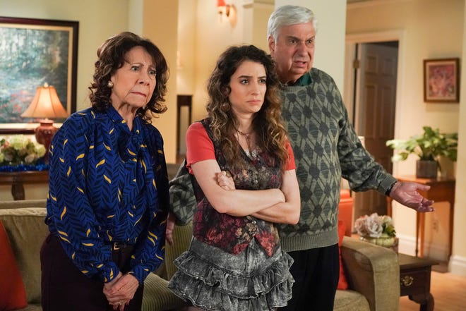 "Bexley native Beth Triffon, center, appears with Mindy Sterling and Ken Lerner in an episode of ""The Goldbergs"" that aired last Wednesday."