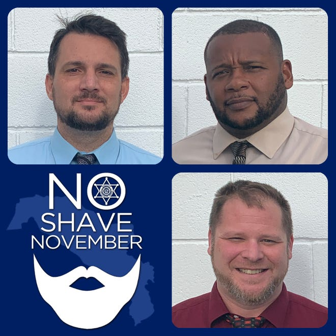 From left, Lt. Ben Dempster, Detectives Aaron Manuel and Detective Aaron Schneck participated in No Shave November to raise money for cancer research.