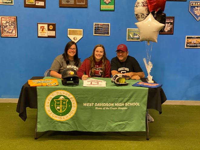 West Davidson softball player Shiloh Gray has signed a National Letter Intent with Guilford College. Gray hit .369 and was 10-3 with an 0.90 earned run average pitching in the 2019 season. Pictured with Gray are her parents Daniel and Somer.