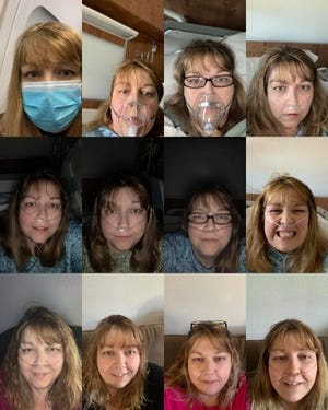 Melody Johnson, a physician assistant from Deltona, recently spent 19 days in the hospital getting treated for COVID-19. She has regularly posted updates on her Facebook page, sharing selfies from the day she departed on a trip to see family in Ohio, Oct. 16, top left, where she was exposed to the virus, through her hospital stay and as she recovered at home, with the bottom right showing her on Dec. 1.