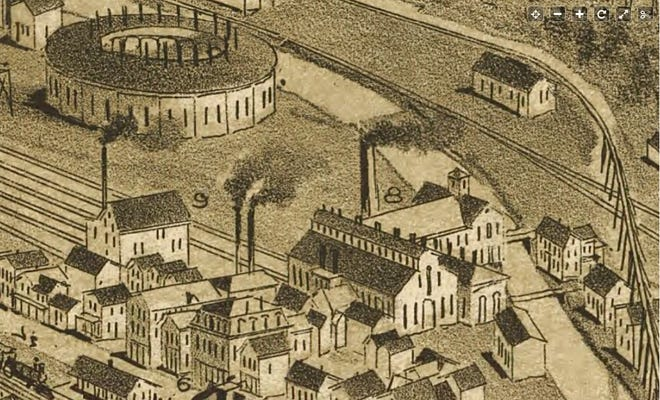 """This is a closeup portion of the 1890 arial sketch map of Carbondale, Pa, showing part of the industrial and rail operations between Dundaff Street at lower left and the Lackawanna River. Labeled as number """"8"""" is the venerable Van Bergen & Co.'s Iron Foundry. At upper left is one of two locomotive roundtables. No. """"9"""" is the Bronson & Fowler Grist Mill. No. 6 is a lodging place, the Valley House run by Edward Maledy on Dundaff Street (then known as Railroad Street). Another large concern, Hendrick Manufacturing Ltd., is just off this image to the lower right on Railroad Street. Credit: Library of Congress"""