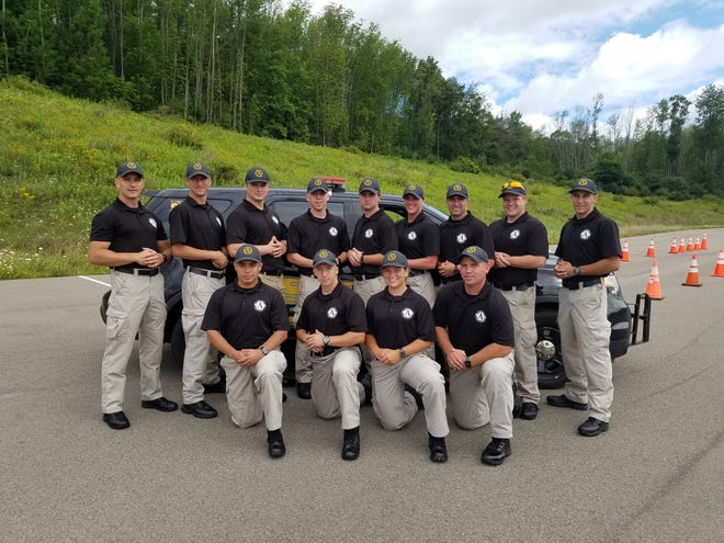 Pictured is the 2020 class of graduates from the Alfred State Police Academy. In the first row, from left to right, are Isaac Rodriguez, Michael Harrington, Chloe Wormsley, and Brian Harrison. In the second row, from left to right, are Michael Ruggles, Brendan Terry, Tyler Crouch, Tyler Congdon, Gage Harrison, Emily Waite, Steven Brongo, Austin Plank, and Andrew Merring.