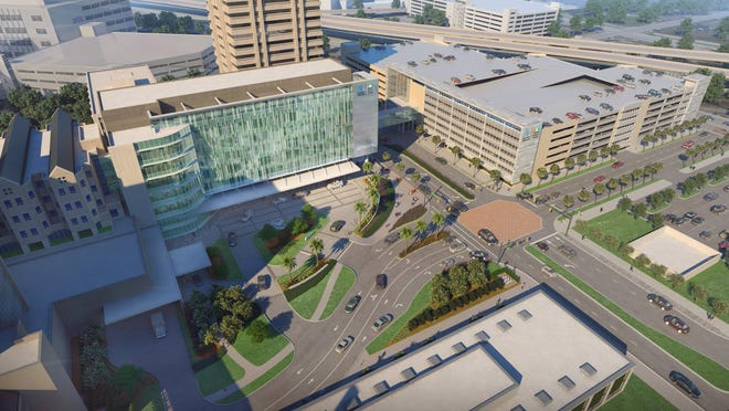 This is an artist's rendering of the new seven-story building now under construction at Baptist Health in downtown Jacksonville, which will feature a five-floor Critical Care Tower for Wolfson Children's Hospital. It is expected to open in February 2022.
