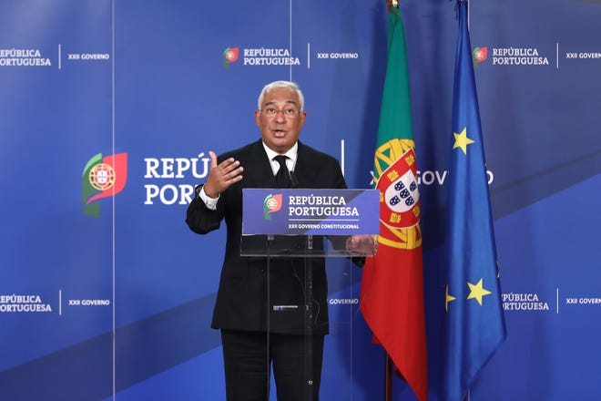 Portugal's Prime Minister António Costa during a joint press conference, by videoconference, with the President of the European Parliament, David-Maria Sassoli, at the Centro Cultural de Belém (CCB), in Lisbon, on Dec. 2, 2020. Portugal will assume the presidency of the European Union on January 1, 2021, succeeding Germany.