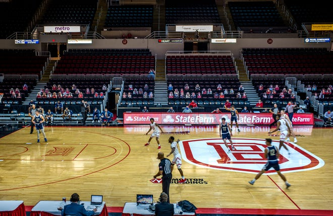 Cutouts fill in for fans at Carver Arena Tuesday, December 1, 2020 during the Bradley University Braves game against Judson University.