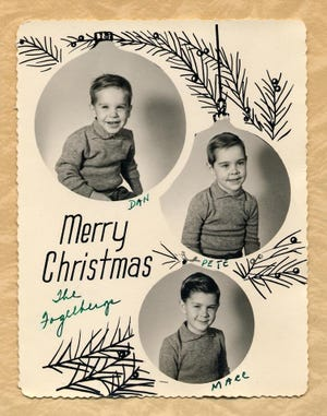 From Dan Fogelberg's youth, this undated family Christmas card features Dan (top) and his brothers.