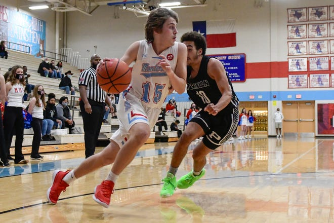 Monterey's Aidan Castillo (15) drives to the basket against Permian on Tuesday, Dec. 1, 2020, in Lubbock, Texas. [Justin Rex/For A-J Media]