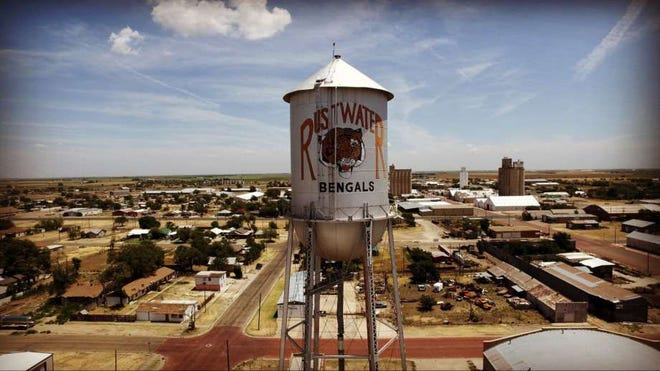 The Plainview water tower, adorned with a huge Bengal tiger, team mascot for the fictional town in Leap of Faith.