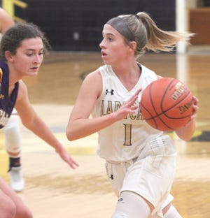 Cairo sophomore Gracie Brumley and the Lady 'Cats basektball team defeated Slater 59-16 in pool-play competition at the 90th Annual Glasgow Invitational.