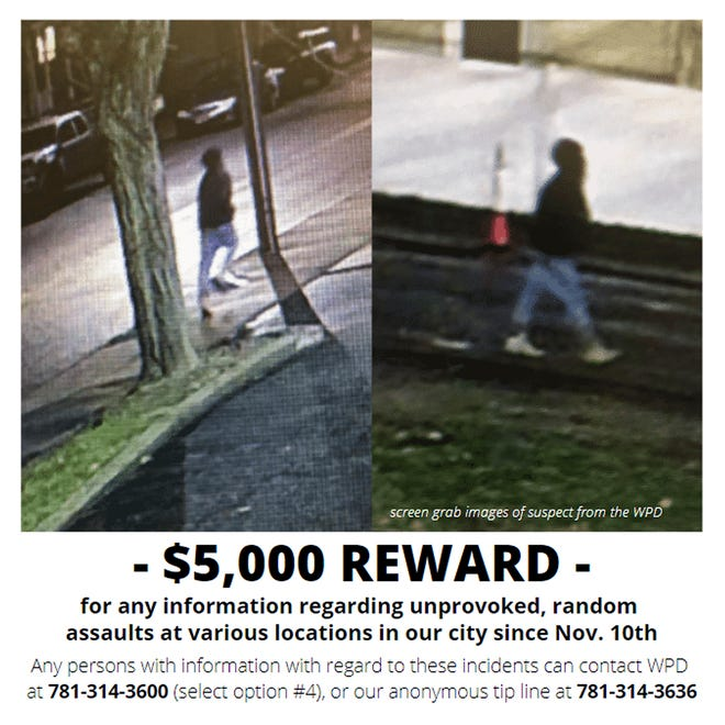 This reward poster released Tuesday, Dec. 1, 2020, by the City of Waltham on its social media accounts shows images of a possible suspect of at least 10 unprovoked brutal attacks on male pedestrians on city streets who have been targeted since Nov. 10, in Waltham. [City of Waltham Police Department via AP]