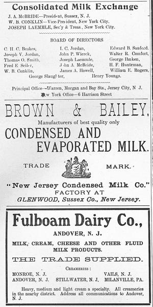 Advertising for Sussex County dairies that appeared on page 11 of the December 1909 issue of The Milk Reporter.